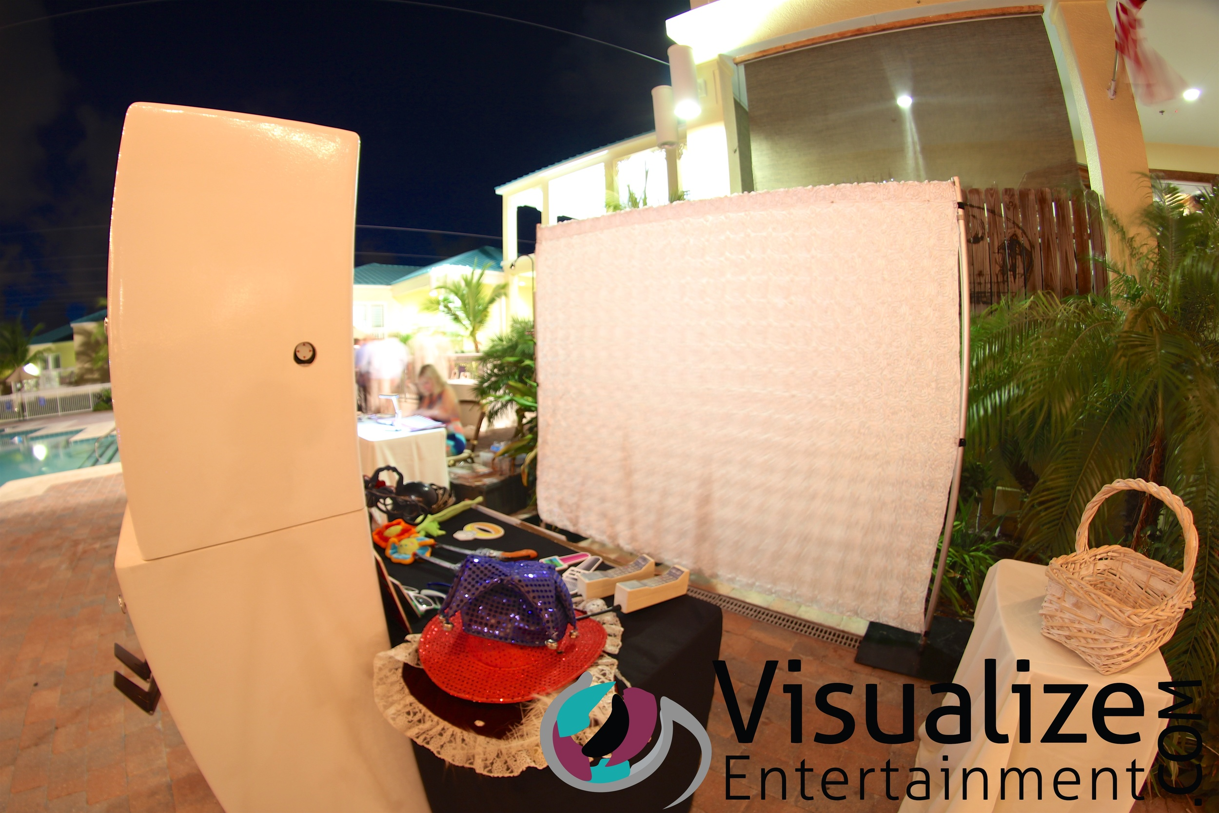 Our photo booth with a custom backdrop to match their wedding.