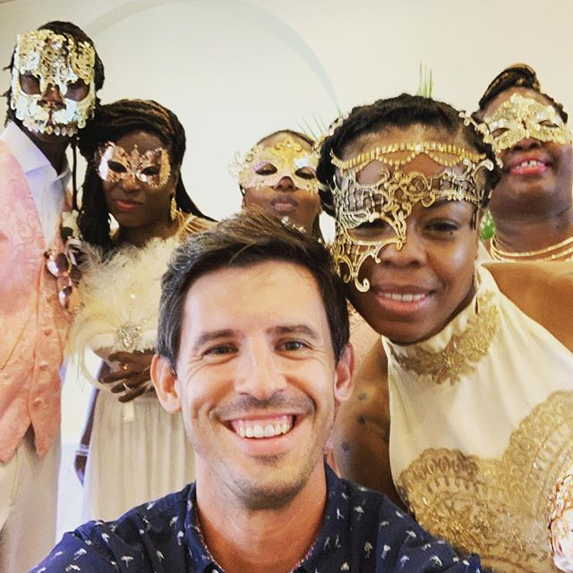 Masquerade wedding, whaaaa?! This crew is ready to party! @destinationweddingstudio . #keywest #floridakeys #keywestdj #casamarina #bride #weddingparty #masquerade #southernmostbride #weddinginspiration