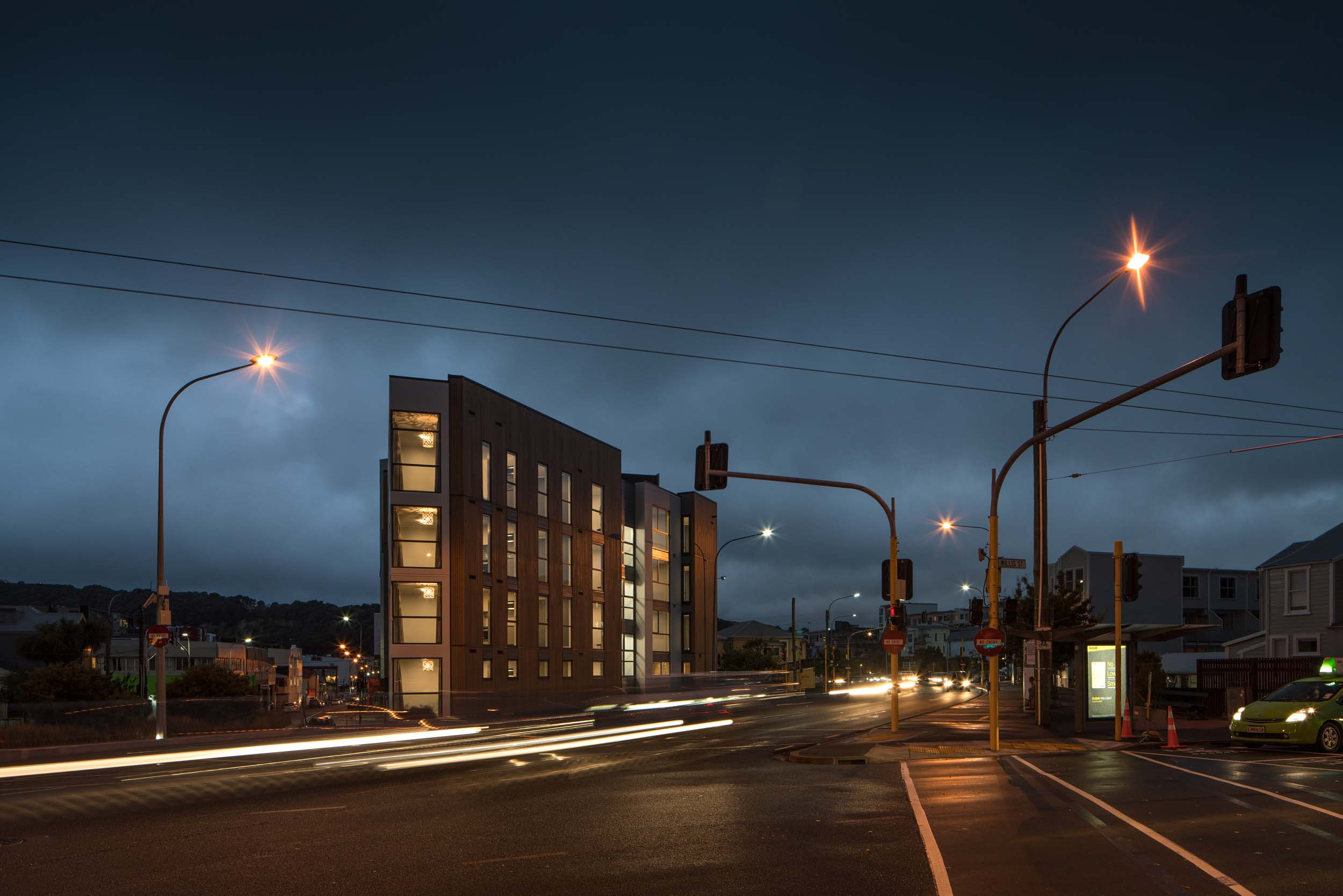 83 ABEL SMITH STREET BY ARCHAUS. EXTERIOR NIGHT TIME-LAPSE SHOT