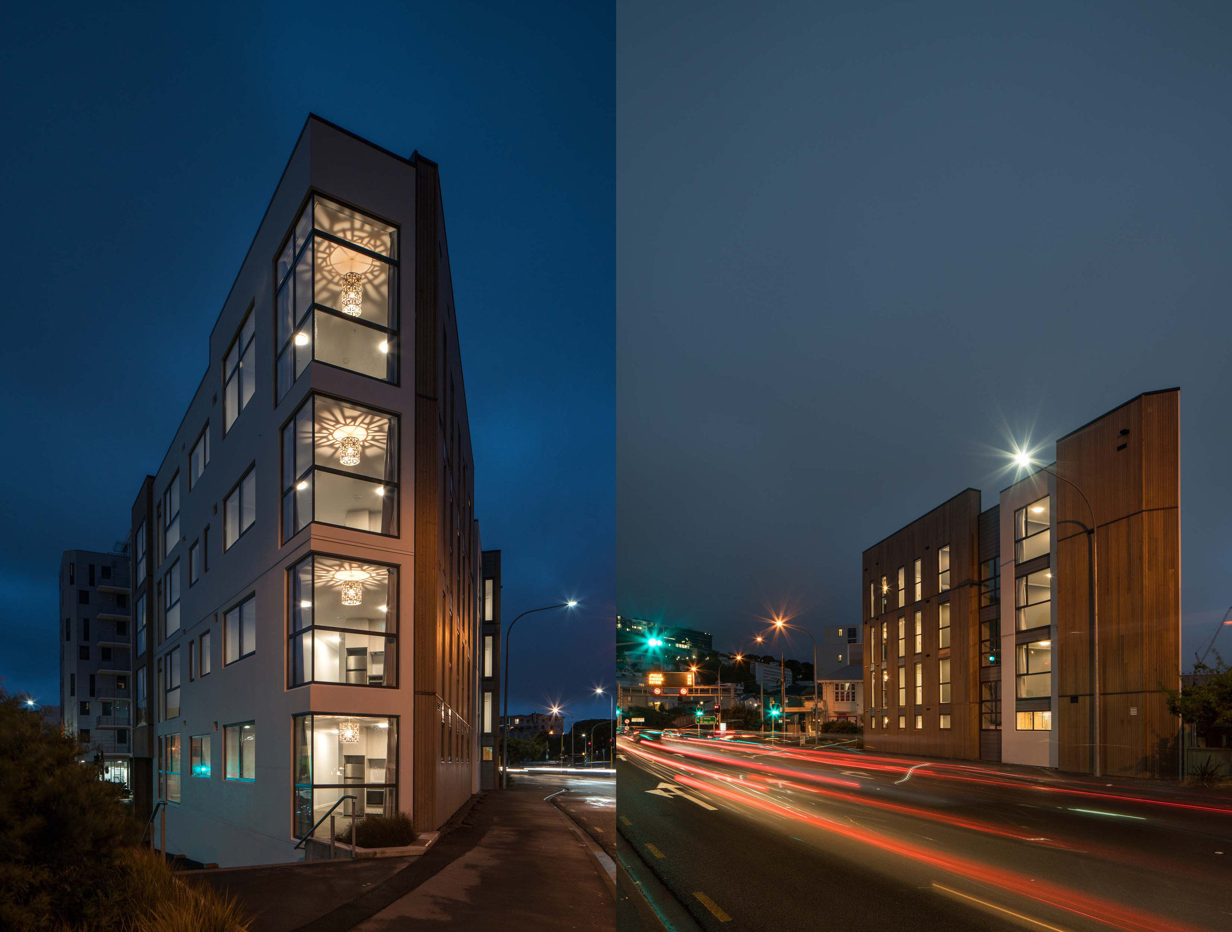 83 ABEL SMITH STREET BY ARCHAUS. EXTERIOR NIGHT SHOTS.