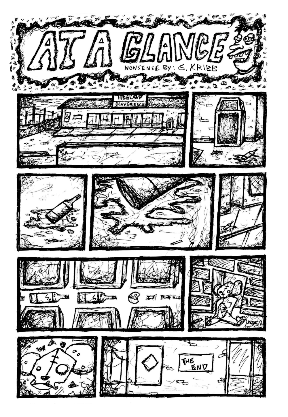 Here's a wacky glance into some ponderings of the local convenience store in which I've purchased many Jones Sodas, slurpees, sour candy, and other junk since adolescence.Things got a tiny bit weird as I allowed my mind to wander from panel to panel. I would like to expand on this one page comic further in the future and continue the visual storytelling.  Until then, I suggest you pay a visit to your local convenience store. I'm sure they'll have plenty of your favorite snacks, cigarettes, cheap cell phones, and maybe even some of those foam tasting orange circus peanut candies that I'm pretty sure no one ever buys. Why would you?  Sometimes these are the things that fill a cluttered and wandering mind...