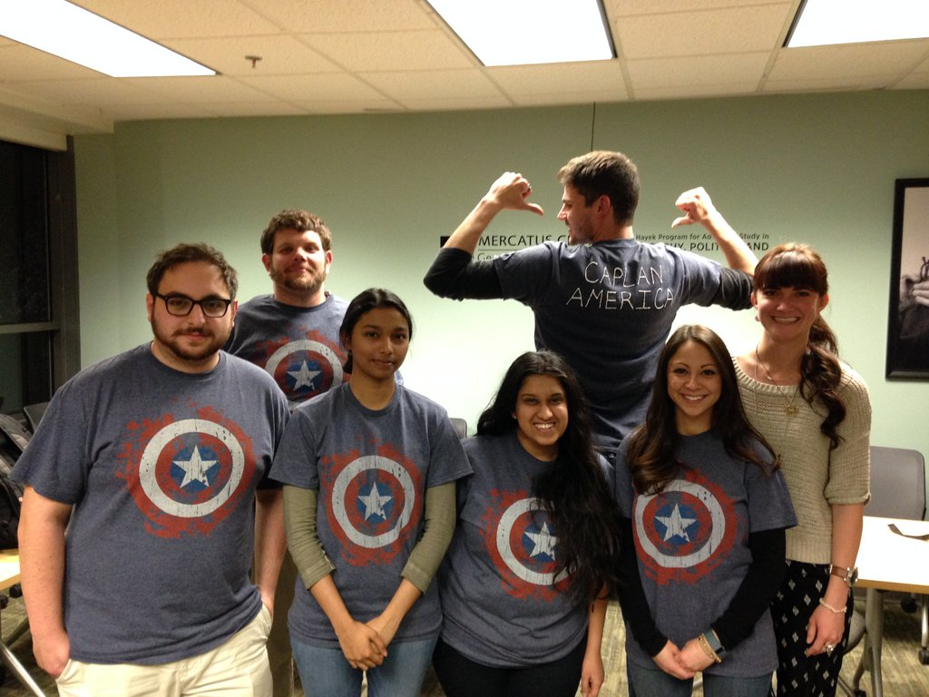 "The students debated Bryan Caplan vs. Donald Wittman, team ""Caplan America"" won most-spirited team!"
