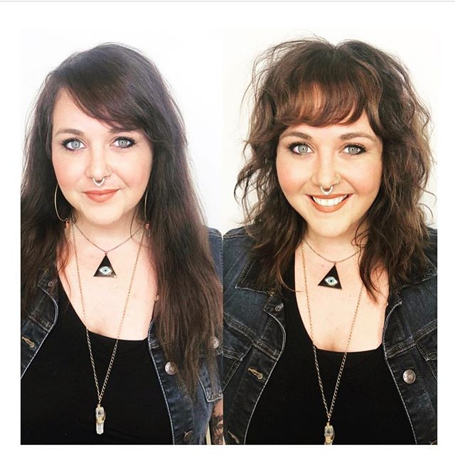 Transformation time! She looks so damn happy ❤️ Hair by @hairmadebyjade  #edosalon #shaghaircut #razorcut #bestofsf