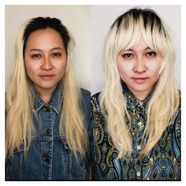 Education at Edo ✨ Before and after of yesterday's bangs class. Highlighting cheekbones and framing the face. We didn't lighten her hair only use the purple conditioner by Evo to cool it down a bit. She was just standing closer to the light in the second photo. Looks so good right? Cut is teacher and student collaboration @jayne_edosalon and @gayhairday ( who did so well with her razor skills!) Styled with @hairstorystudio balm and of course.. never shampooed only #newwash