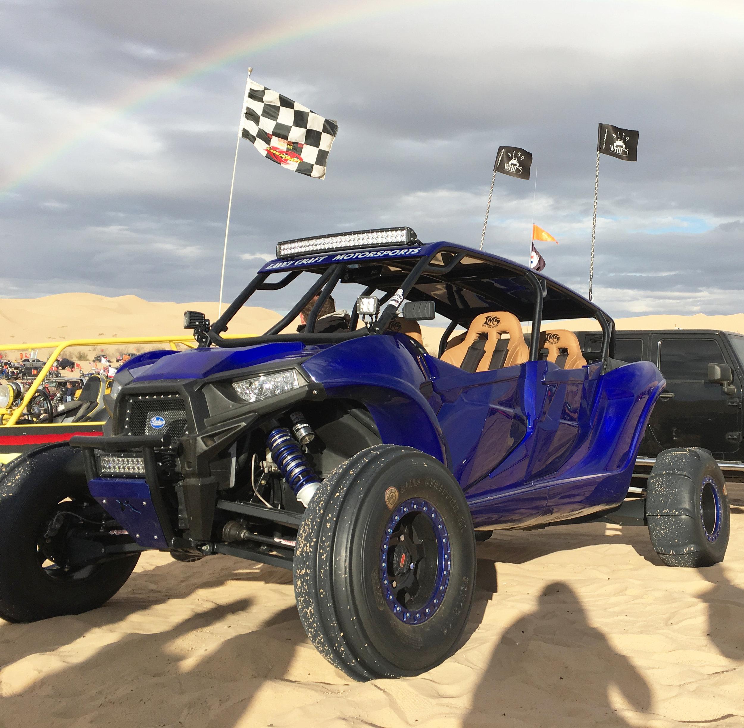 Polaris RZR XP1000 fiberglass body kit by Lavey Craft - Glamis with rainbow.jpg
