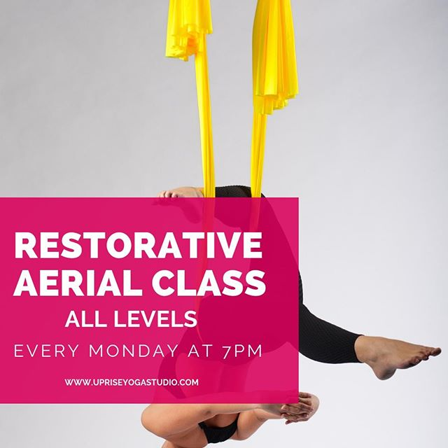 Don't forget tonight is Restorative Aerial Yoga at 7:00pm! Spots still available and all-levels are welcomed! . This class is an amazing way to get deeper into poses, lengthen through your spine, and surrender into your mat and hammock. This class will help you unwind from your day and prepare you for a great night's sleep. . #uprisecos #aerialyoga #restorativeaerialyoga #restorativeyoga #mondaynightyoga #relaxandunwind #aerialsilkslove #chooseyourcolor #ultimatesavasana #timeforyou #coloradospringsyoga