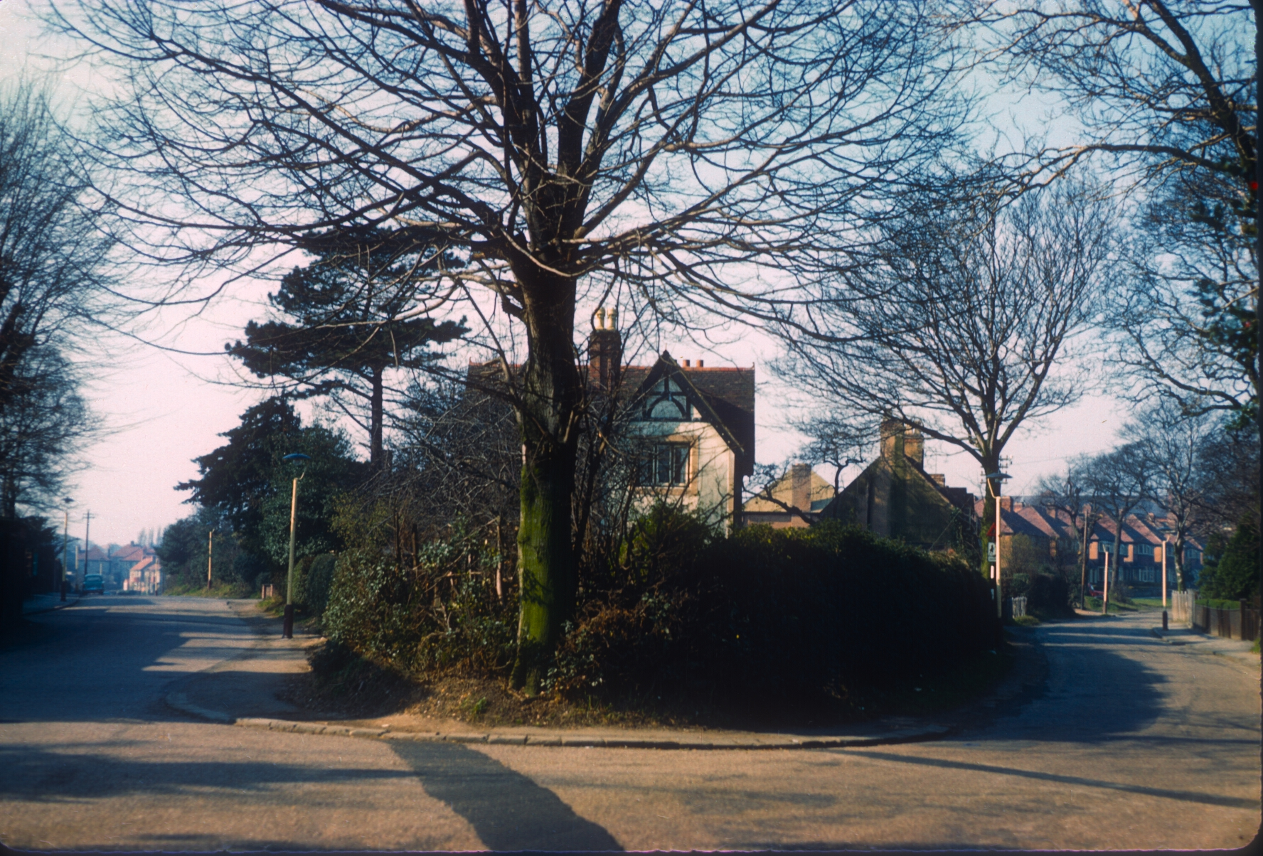 Harborne Camomile Green Old Cottage. Tennal Road (Left), Queens Park Road (Right) 6th March 1961