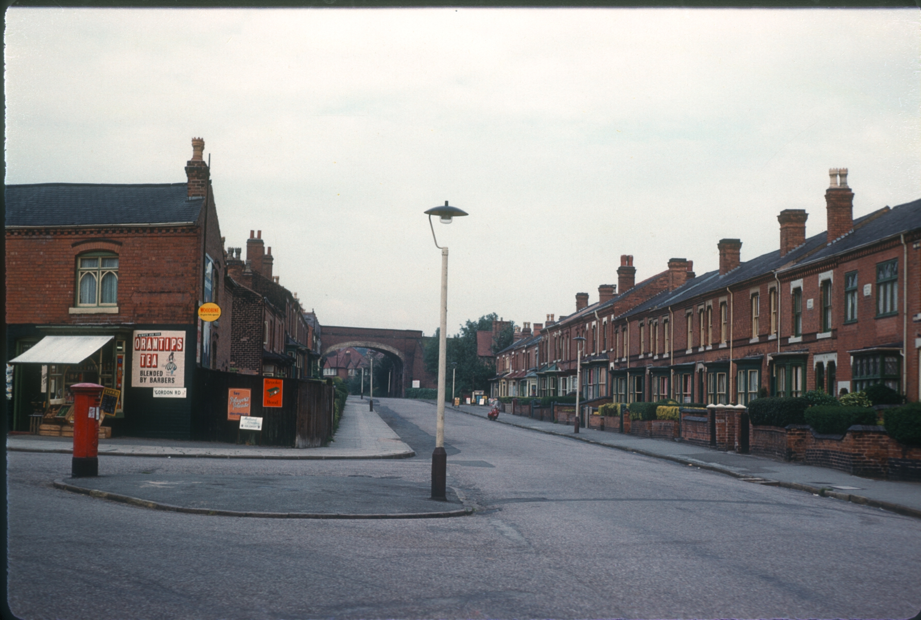 Harborne Park Hill road at corner of Gordon Road (19th Century Housing) Harborne tenants estate beyond Railway Bridge. 12th August 1960