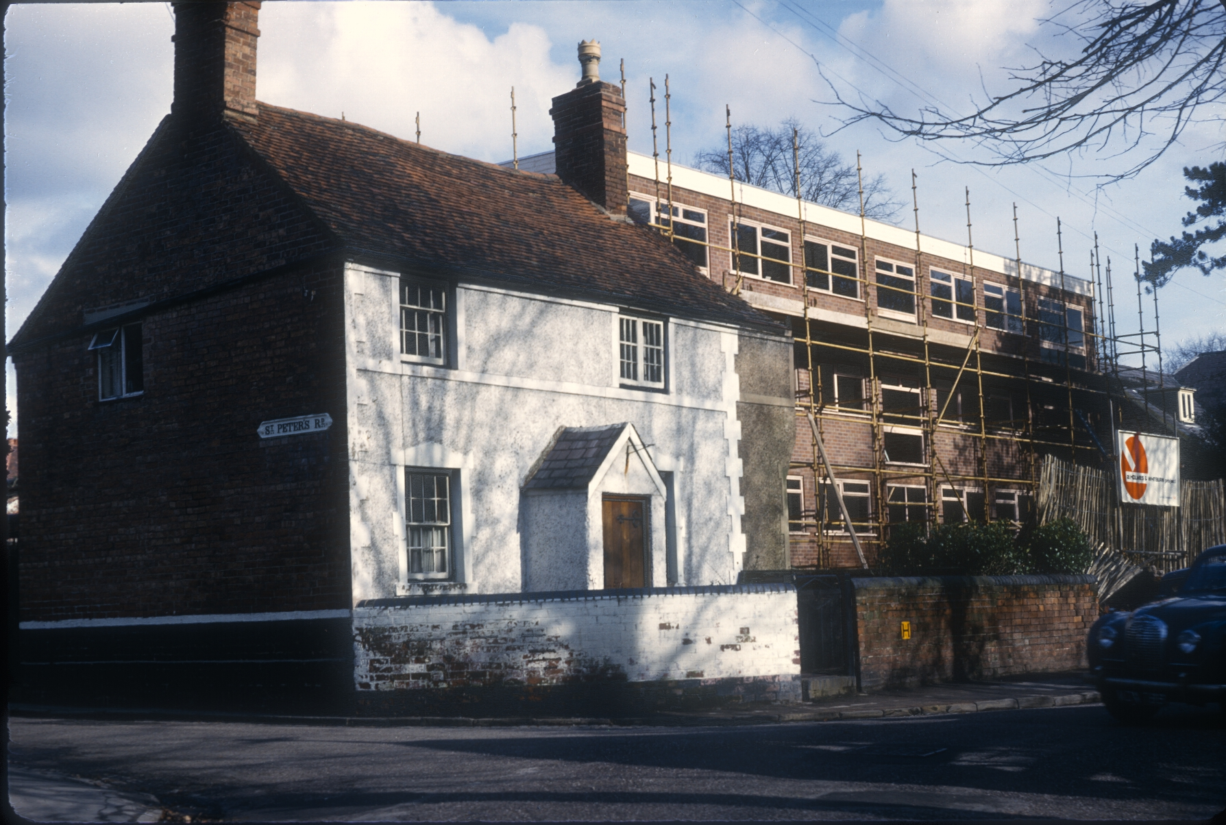 Harborne St Peters Road, No.8, (Once a Post Office) New Flats under construction to the rear. 26th February 1967