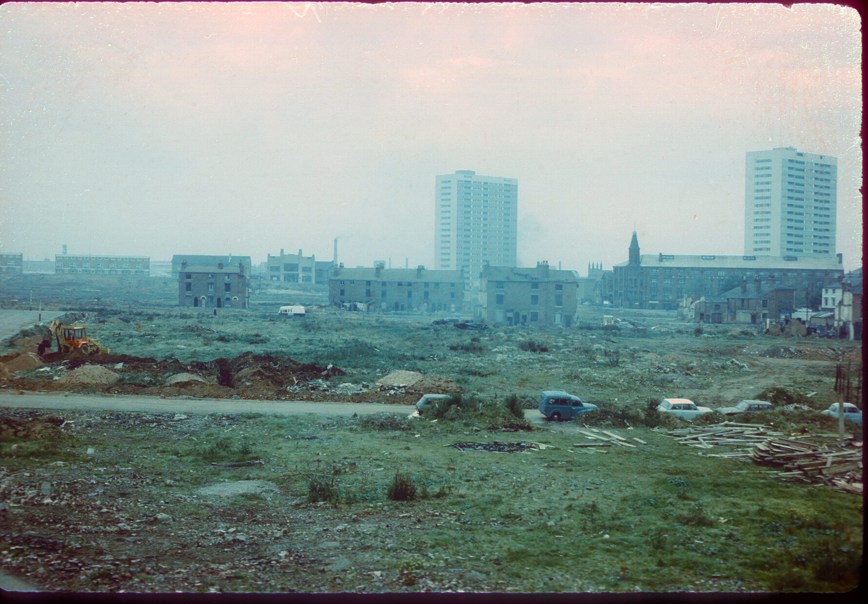 Ladywood redevelopment between St Vincent St (railway bridge) and Monument Rd - St Matks Church to the rear. 24th September 1968