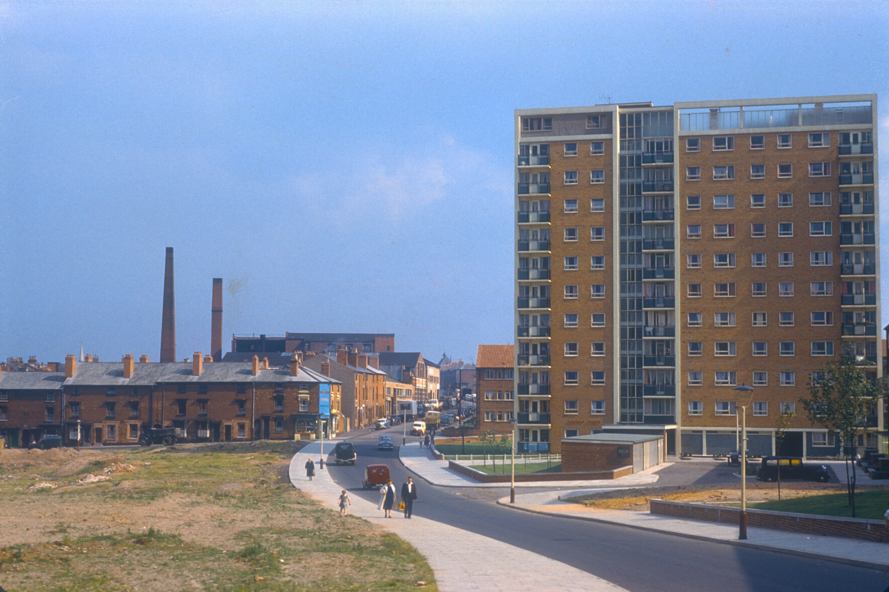 Ladywood, Gilby Rd, Lincoln Tower new flats in Ladywood redevelopment area. View towards Morville St (L) and Ruston St (beyond Gilby Rd) 10th August 1960
