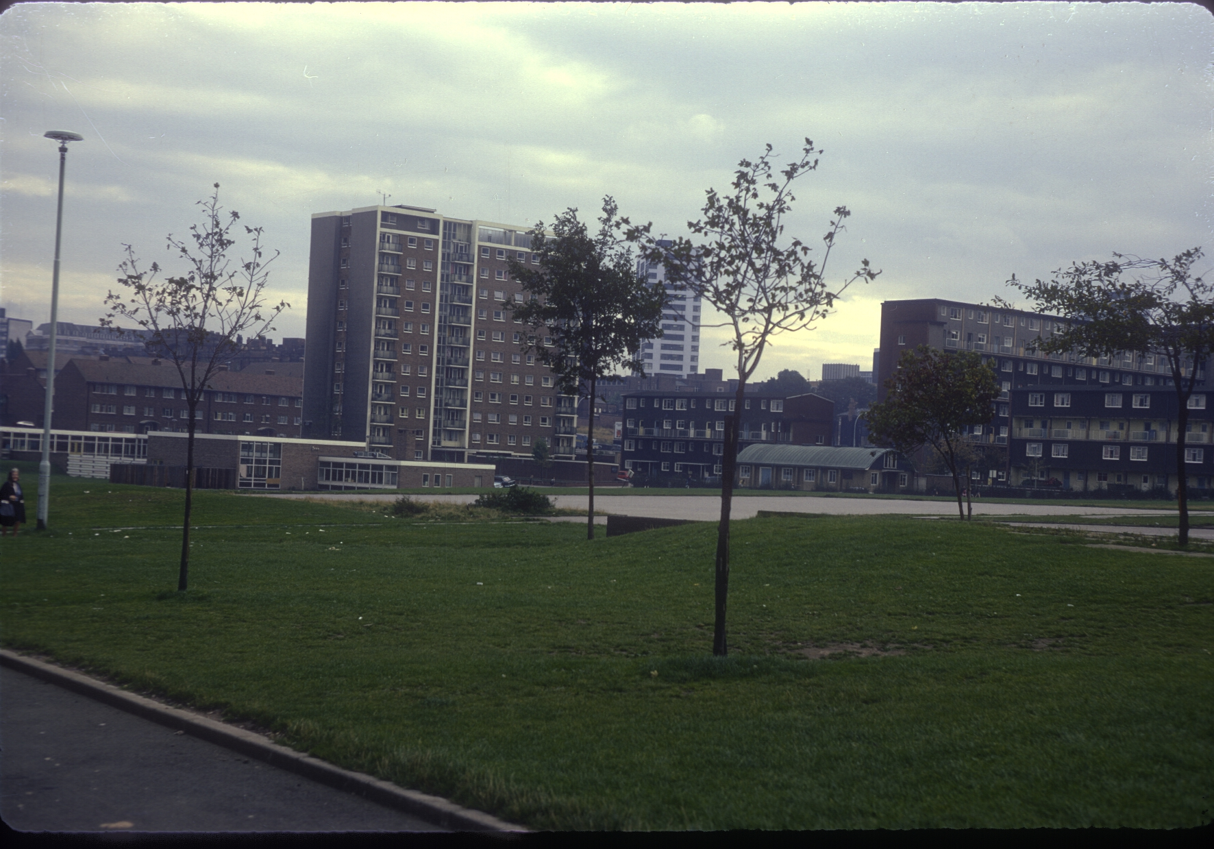 Ladywood, Lincoln Tower (Morville St) St John's Primary School in foreground - View towards Ladywood Rd, Chamberlain Gardens. 24th September 1968