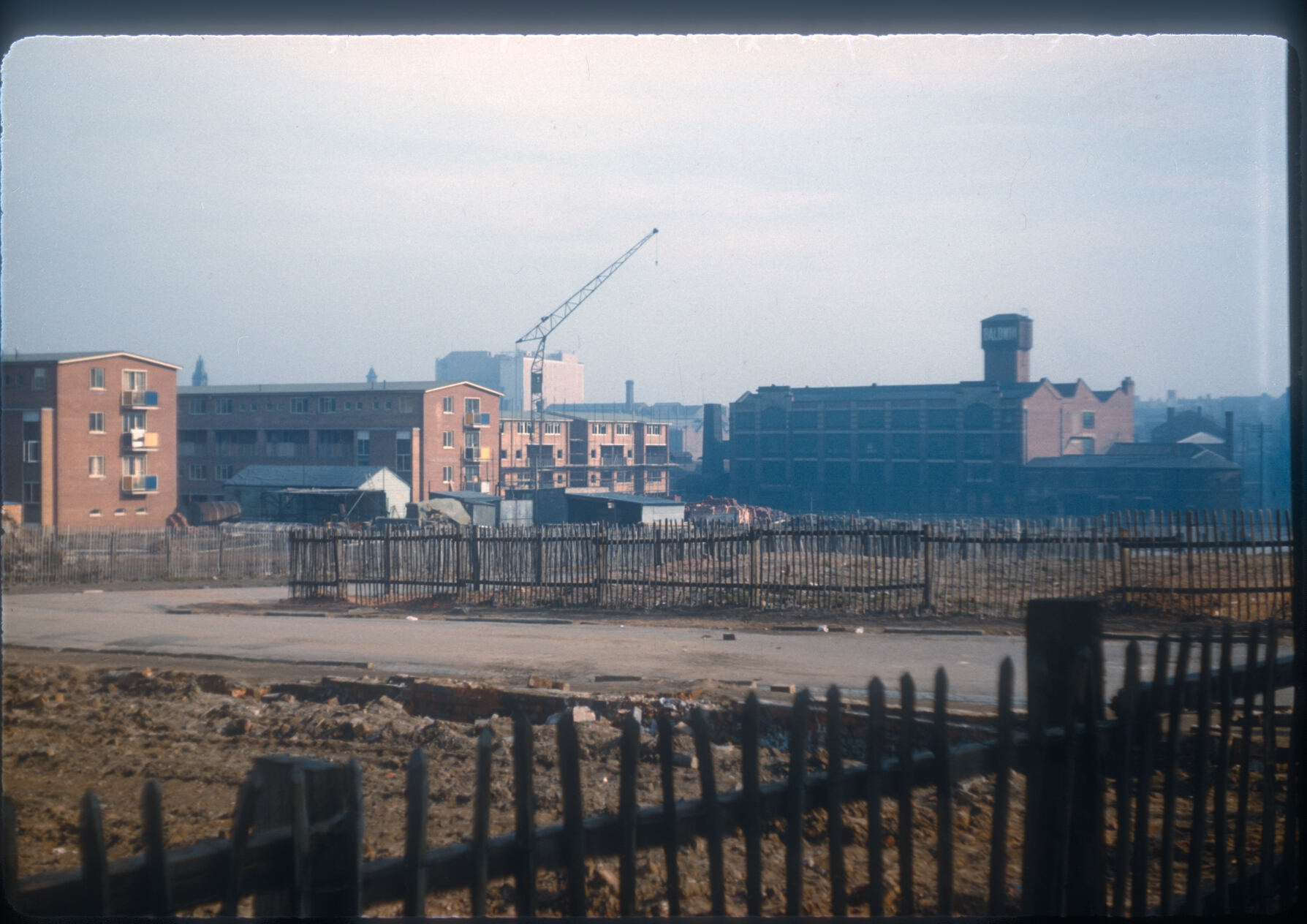 View from Ledsam St towards Broad St (Bush House). Ladywood Redevelopment. 2nd March 1957