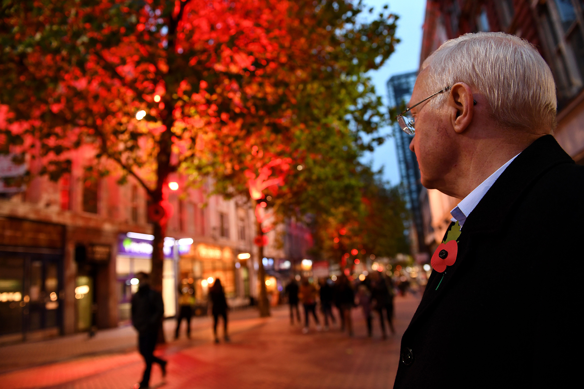 New Street lit red in support of the Poppy Appeal.jpg