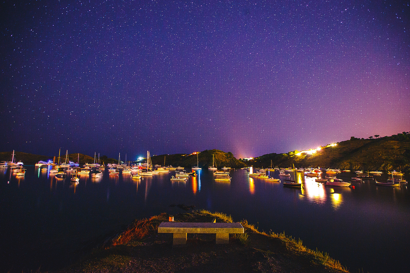 night star sky on the yachts bay in Cadaques, Spain.jpg