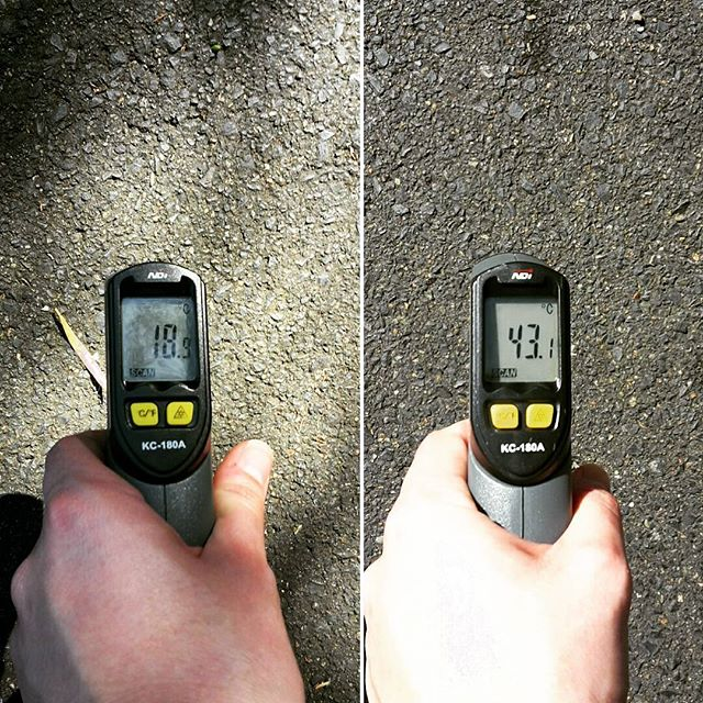Cannot believe the difference in temperature on just a 20 degree day! Left is in the shade of a beautiful tree, right is direct sun, same street!! #coolstreets #sustainability #green #urban #urbanheat #environment