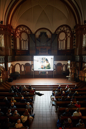 02 2018 - Kino-Passion at Passionskirche in Kreuzberg, Berlin. A free film-screening and Interview with the director of the movie.