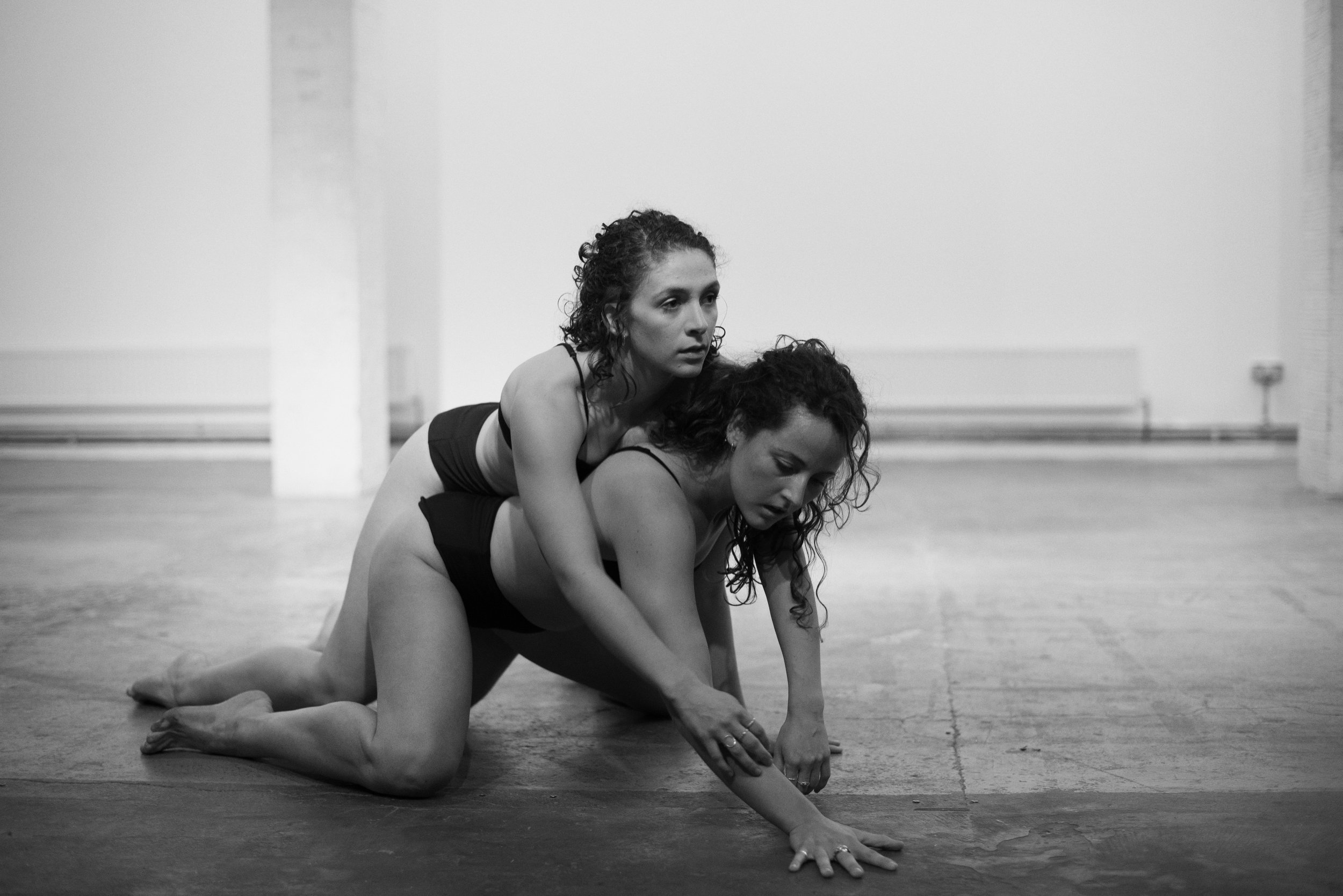 'Act 1, Part 2' by SISTA SISTA performed at Guest Projects, Art Night London: Curated by Cairo Clarke in response to Hannah Perry's 'Act 1, Part 1'. Image by Dave Blackburn. Dancers Madison Capel-Bird & Lydia Buckler (2017)