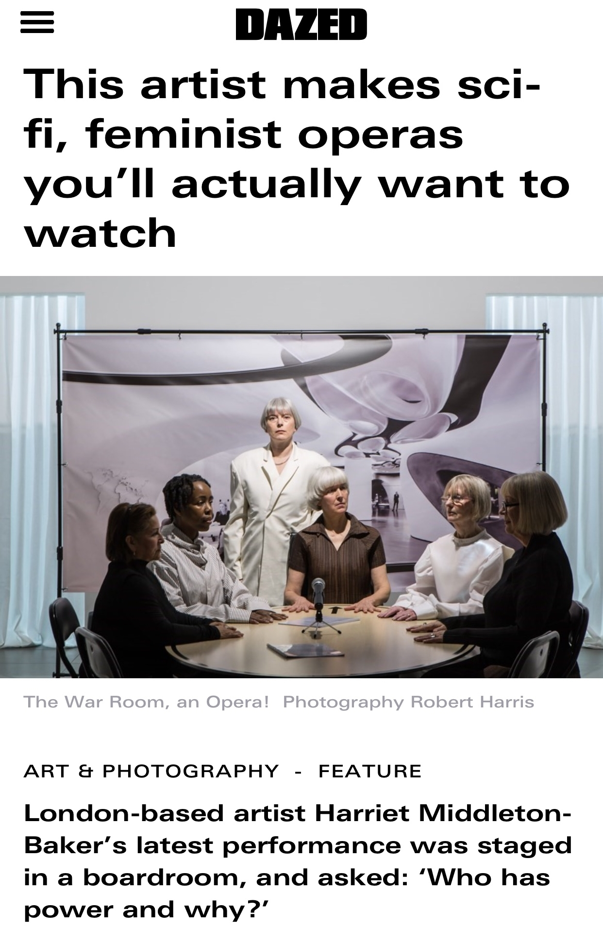 DAZED DIGITAL   Harriet Middleton-Baker in conversation with DAZED about her latest work 'The War Room, An Opera!' choreographer by myself and Madison Capel-Bird of SISTA SISTA.