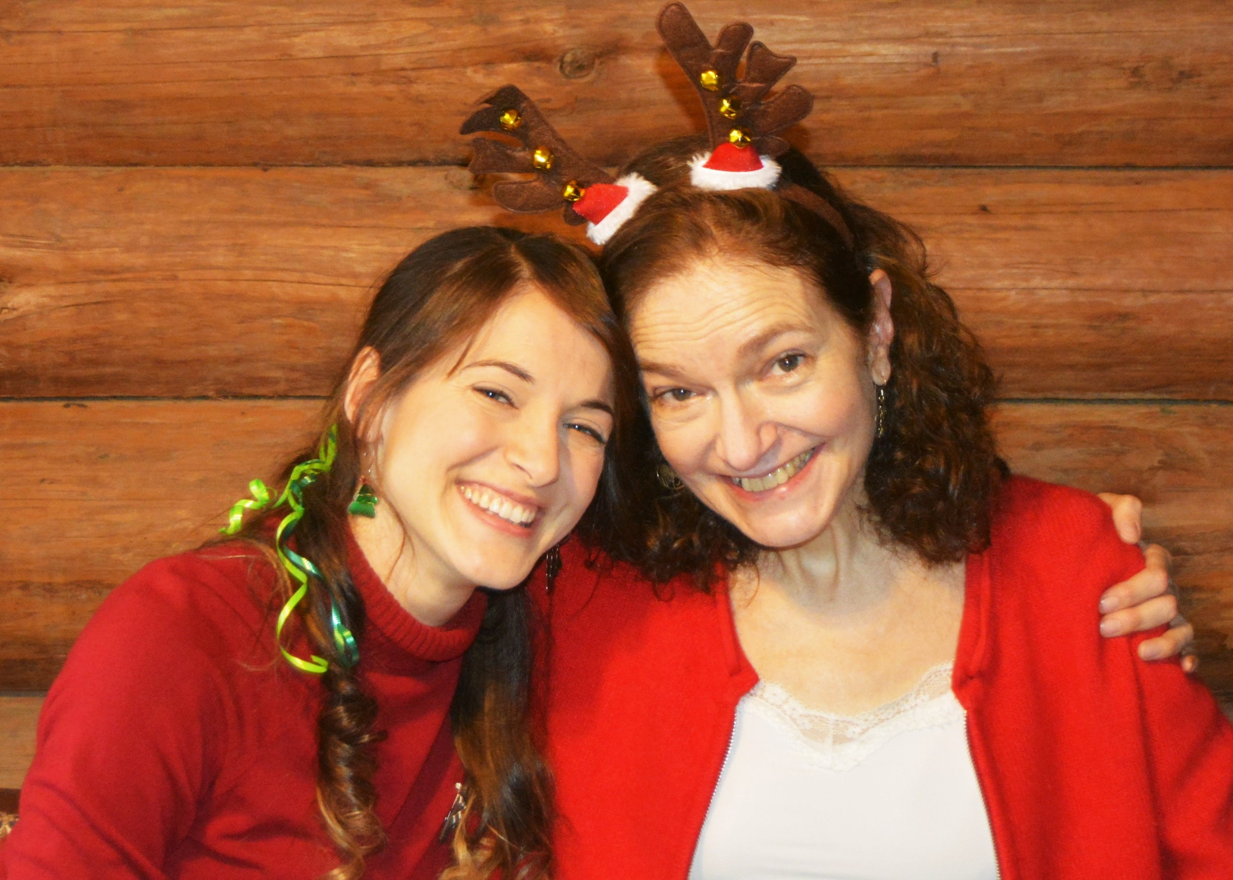 Mom and me the day of our Christmas Brunch. She picked the antlers herself.