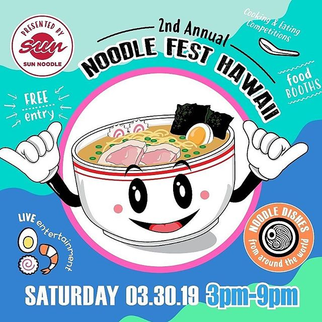 Tomorrow from 3-9pm @ Victoria Ward Park. It's the 2nd Annual Noodle Fest Hawaii! Volunteers from the Hawaii Foodbank will be staffing a tent, taking in both monetary and non-perishable food donations. Noodle Fest Hawaii is presented by @sunnoodles. It is organized by @howardhughescorp, @jcihonolulu, @vh07v and @atmarketing.