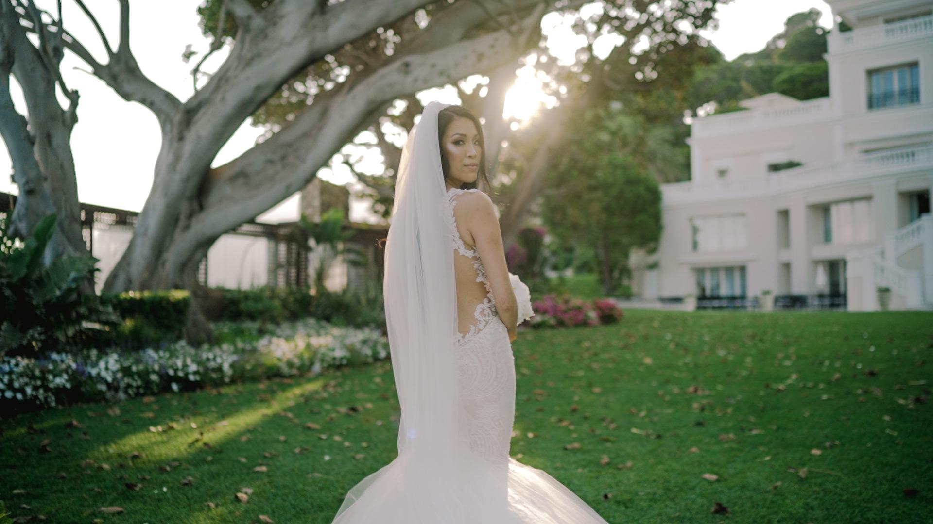 beautiful bride in cap estel garden