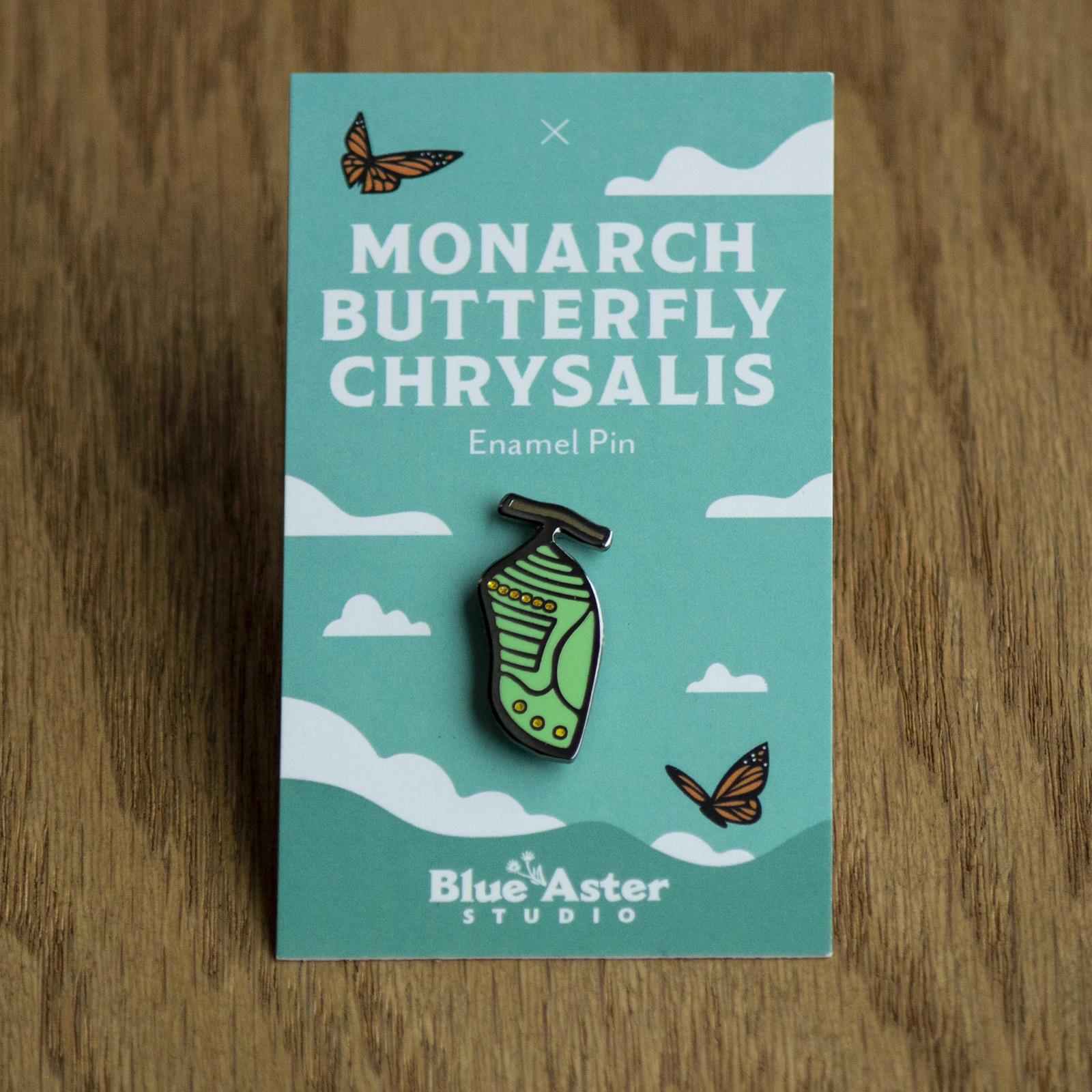 Monarch chrysalis enamel pin
