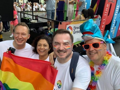 Zurich exec sponsors at Pride (L-R): David Nichols Chief Claims Officer, Tulsi Naidu CEO, Steve Collinson (Head of HR), John Keppel, COO