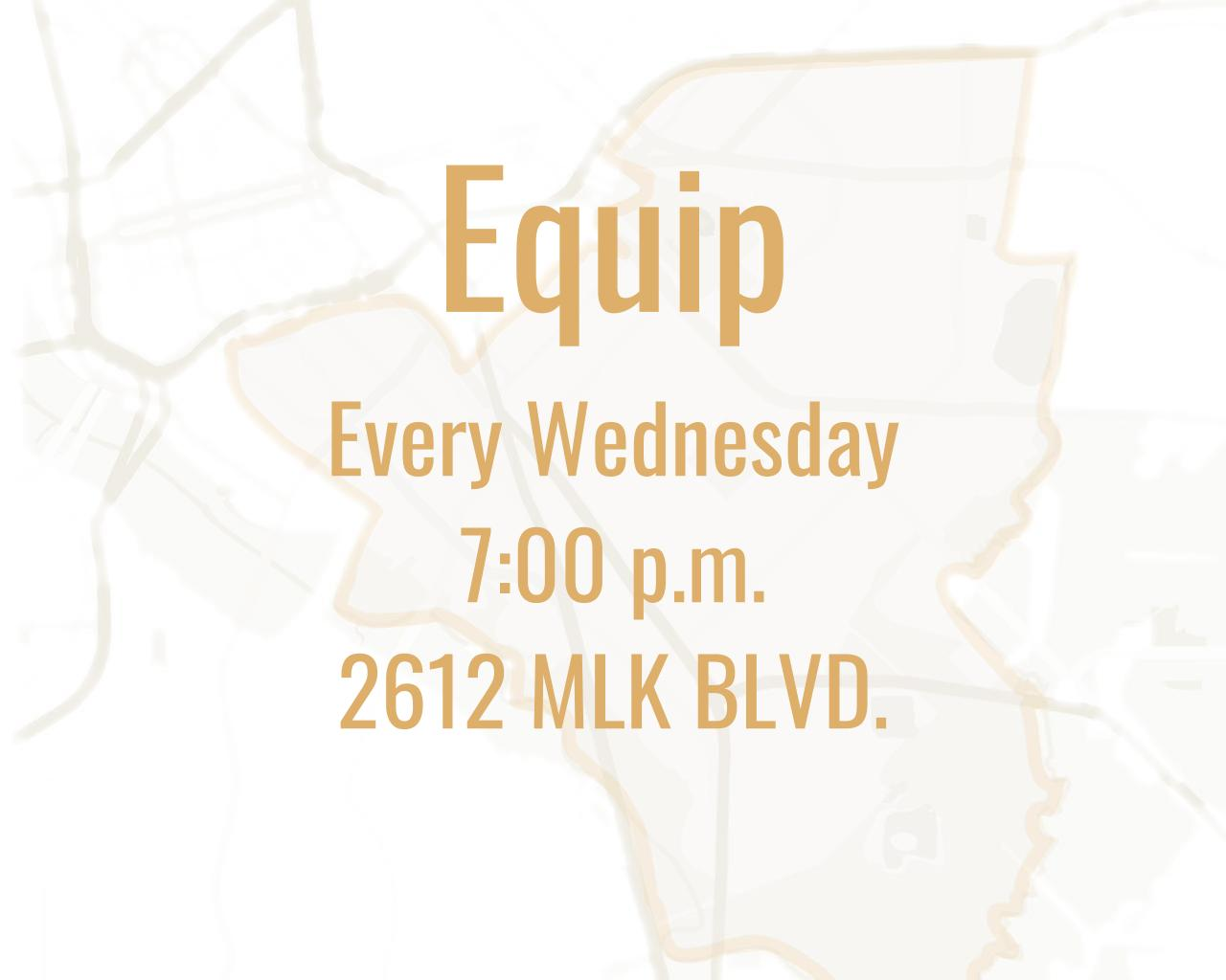 Every Wednesday 7:00pm-8:30pm at 2612 Martin Luther King Jr. Blvd.