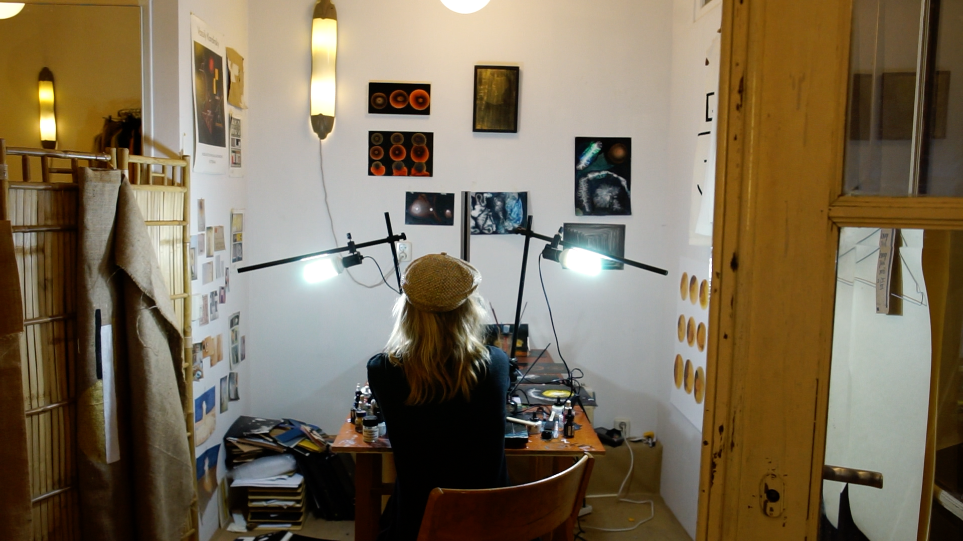 Patricia Hofstede in her studio, working on the Lyric Video for 'If I Say' by Mumford & Sons.