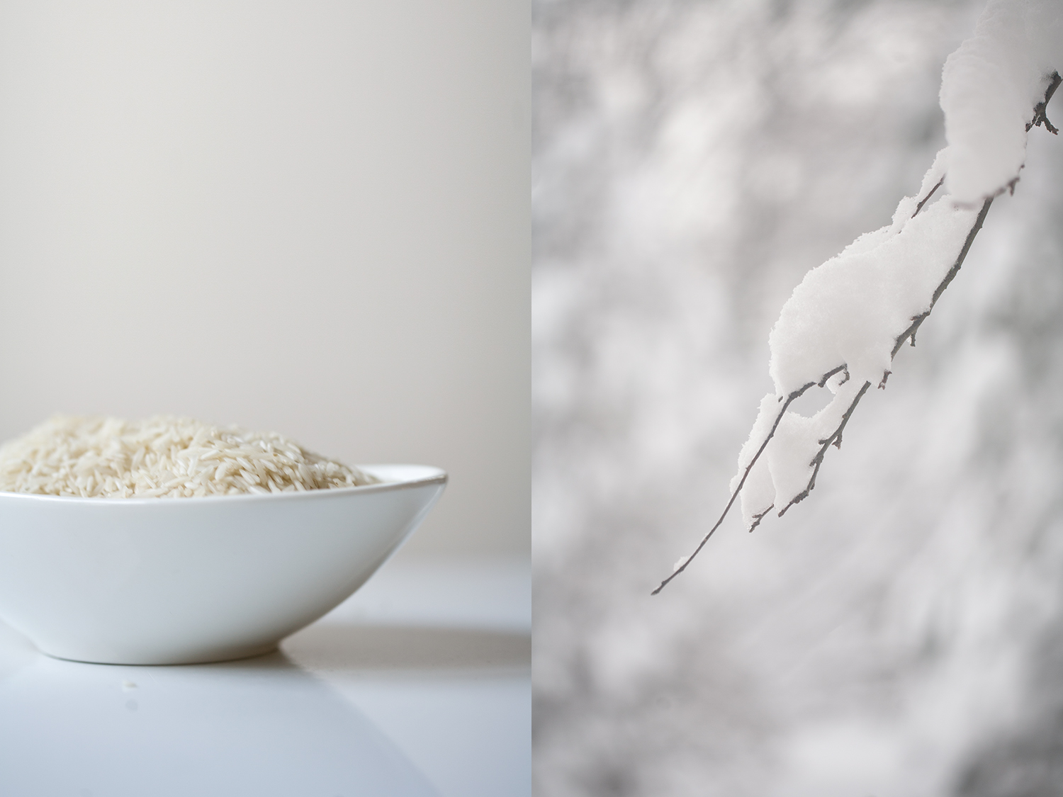 snowy landscape and jasmine rice