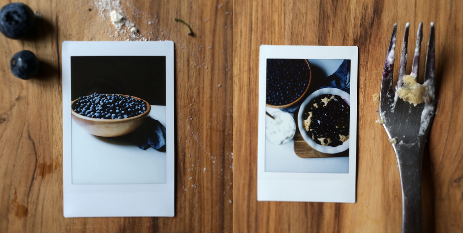 that michigan moment in august with instant film and blueberries