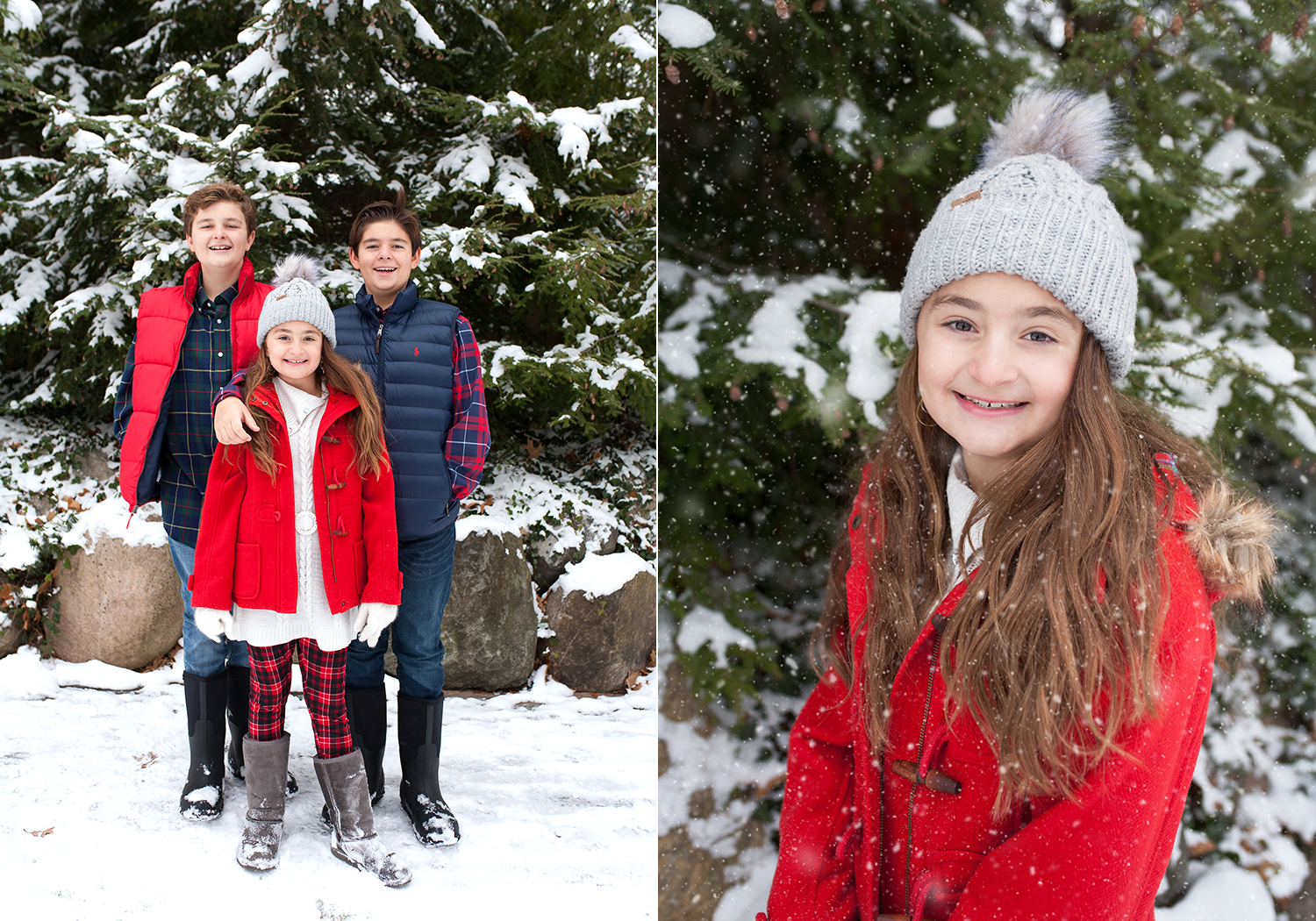 Winter portrait session in the snow for families grand rapids michigan