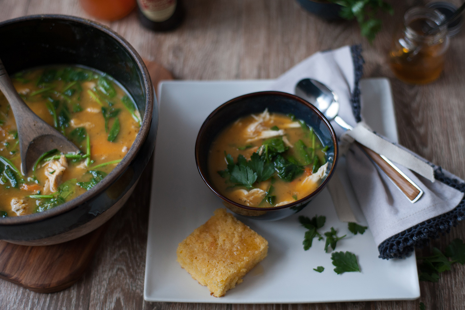 Roast Vegetable and Chicken soup, food styling and photography, CA
