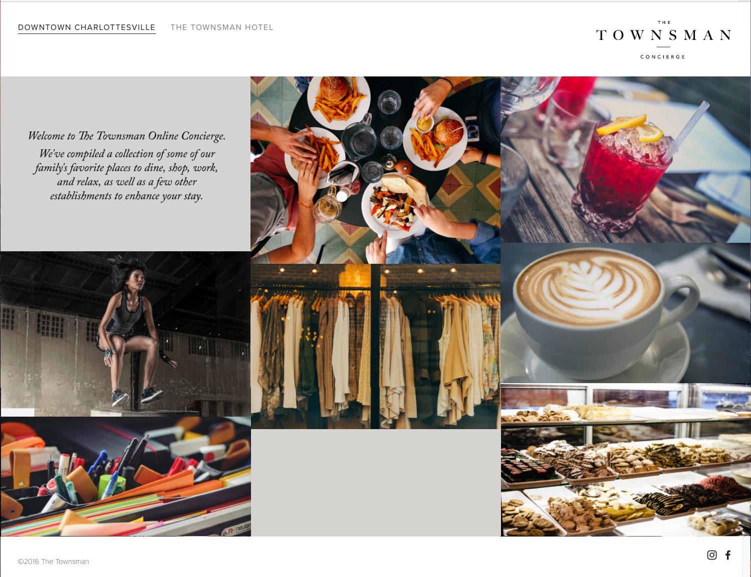 The Townsman Concierge website designed by Hive.