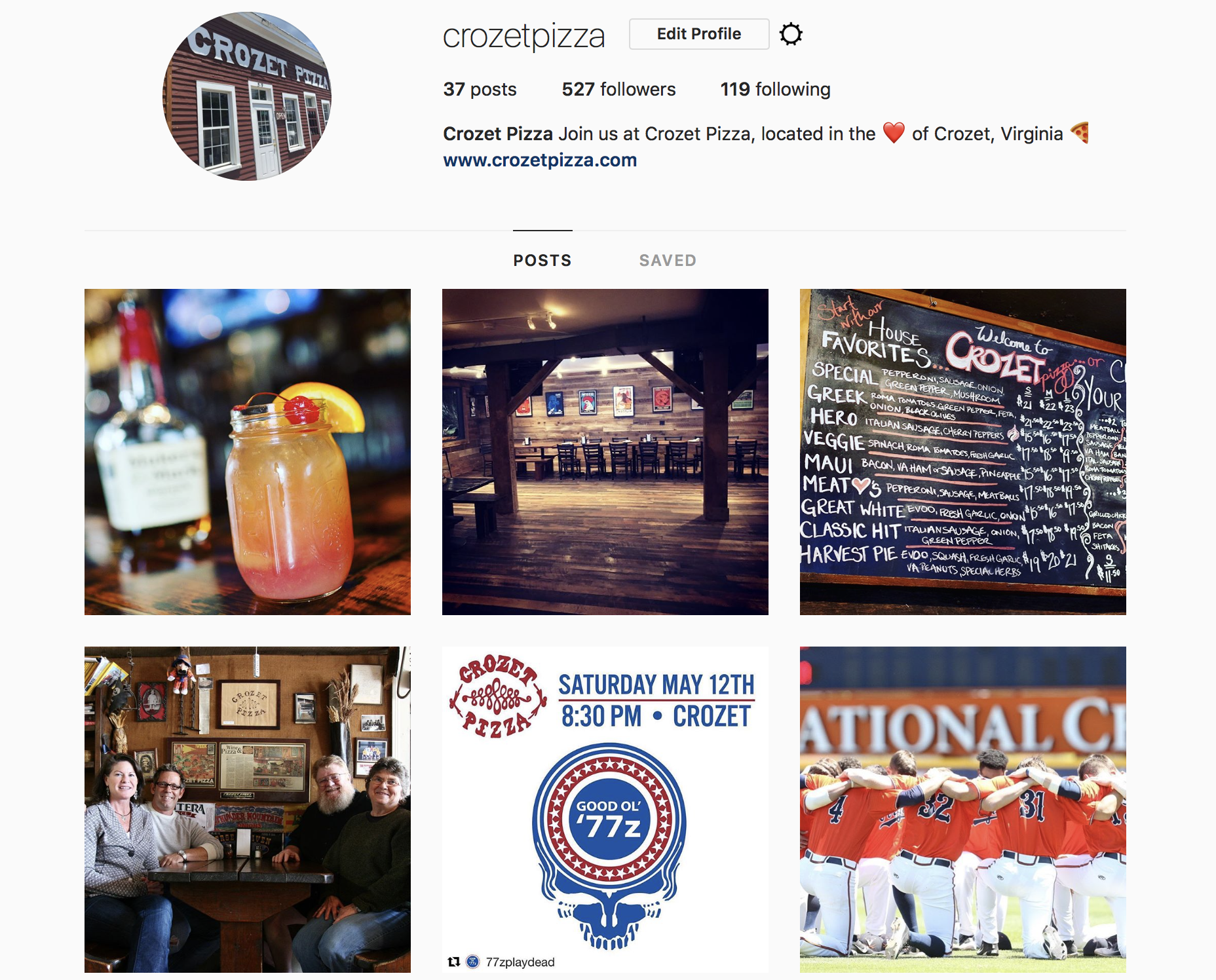 Crozet Pizza Instagram managed by Hive