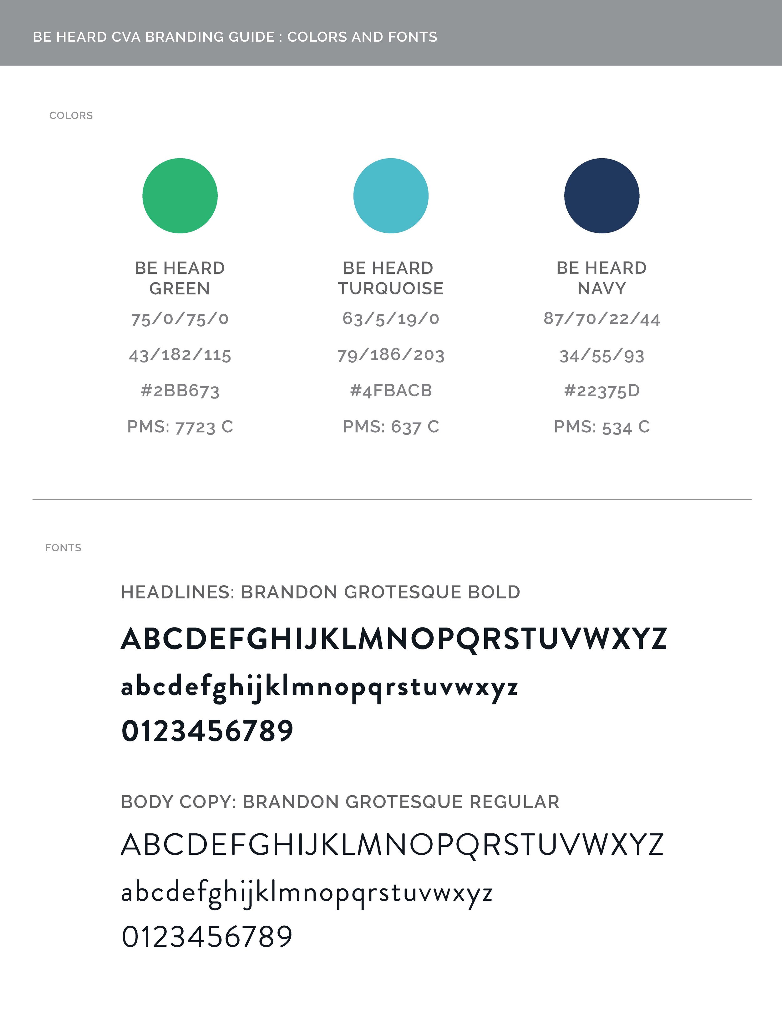 BeHeard Style Guide Page One