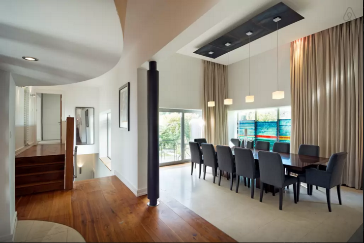 Impressive dining/living area.