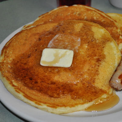 Buttermilk Pancakes with Maple Butter Syrup