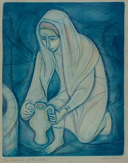 Rebecca at the Well, etching by Irving Amen