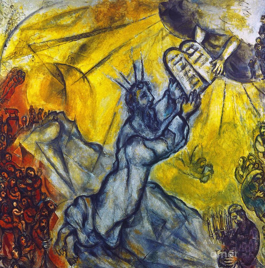 """Moses Receiving the Tablets of the Law,"""" Marc Chagall, 1954"""