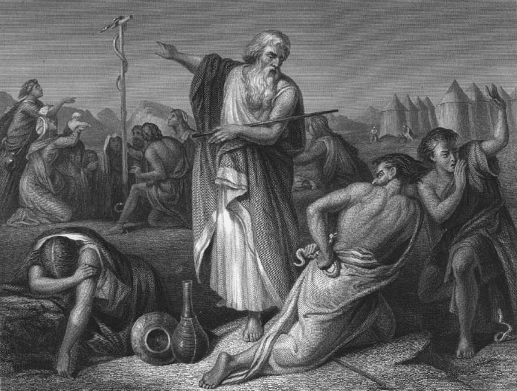 """Moses and the Brazen Serpent,"" engraving after Julius Schnorr."