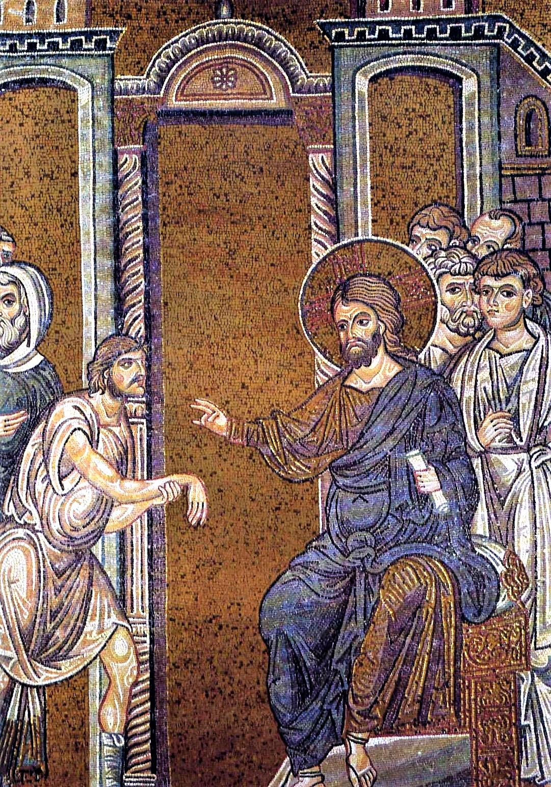 Byzantine Mosaic:  Healing the Man with the Withered Hand