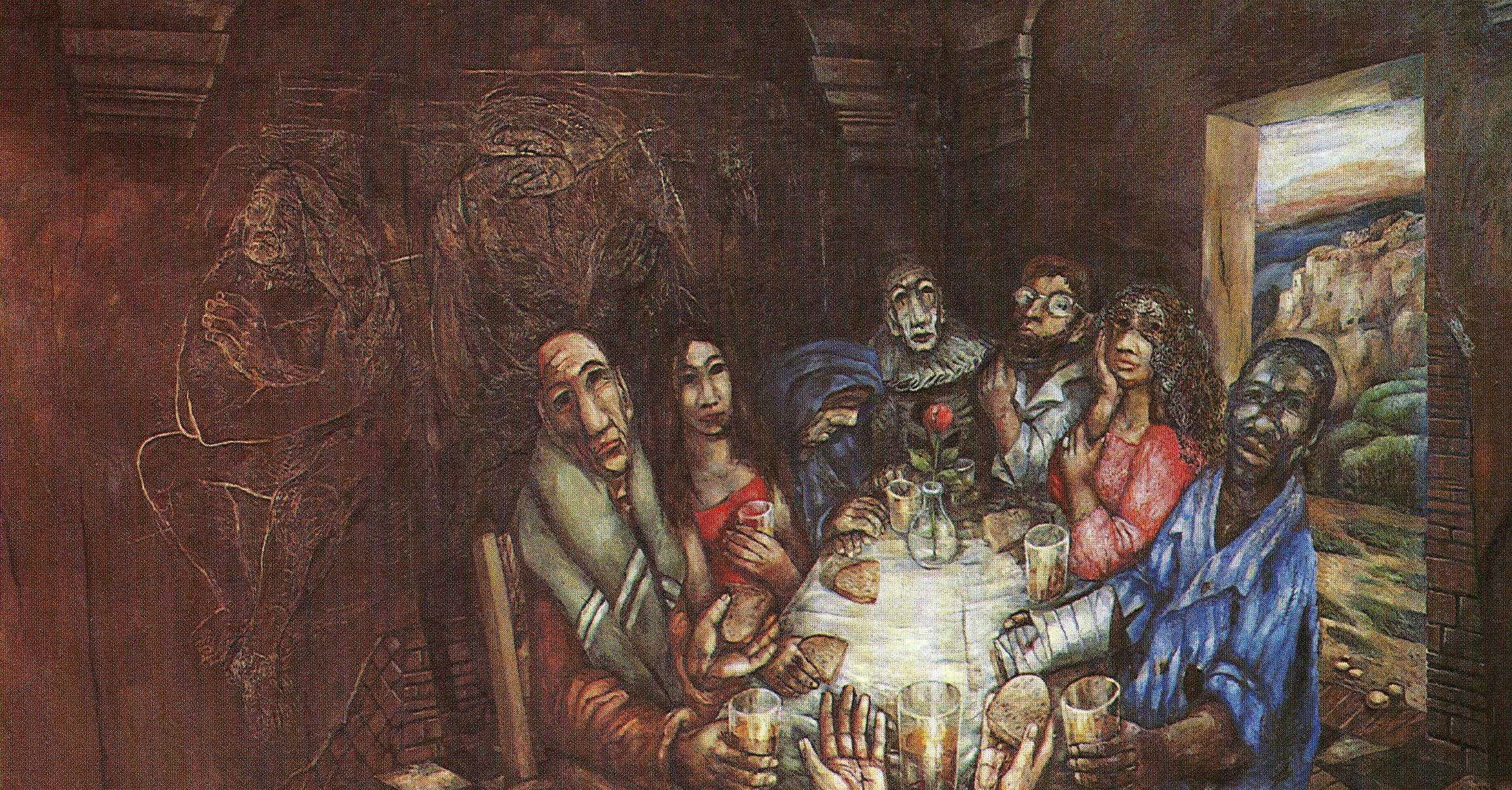 Jesus Eating with Sinners , Sieger Koder, 1998.