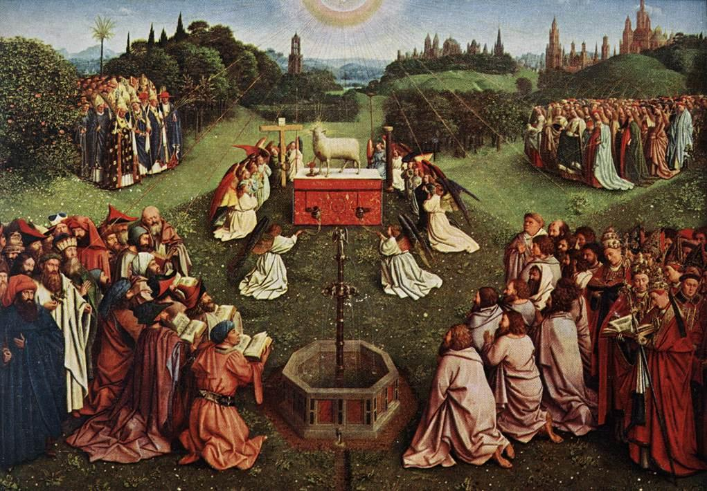 Adoration of the Lamb, Ghent Altarpiece, by Jan van Eyck, 1390-1441.