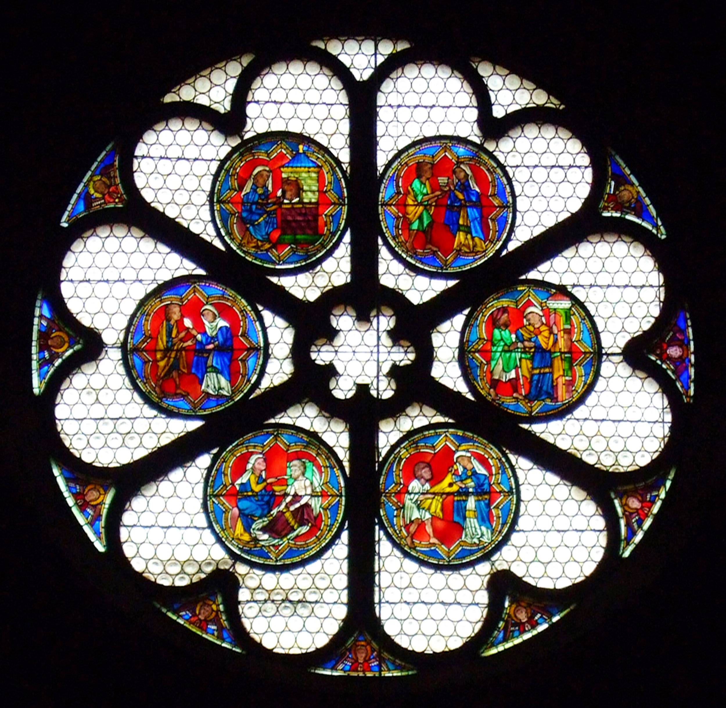 Corporal Works of Mercy, Freiburg Minster, ca. 1230.