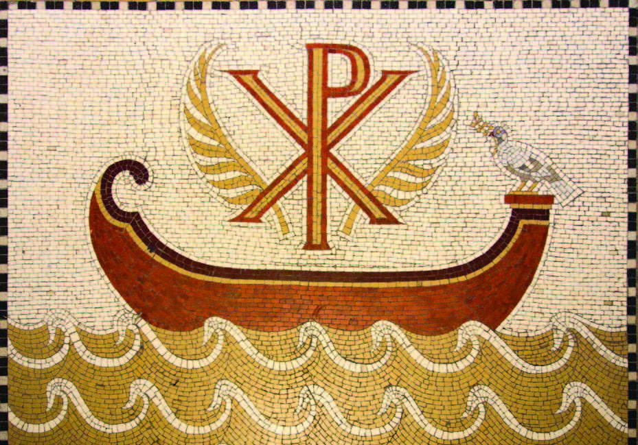 This mosaic of Christ, symbolized by the Greek letters of his name, standing in the boat which symbolizes the Church, is in the Abbey of the Dormition, on Mount Sion in Jerusalem