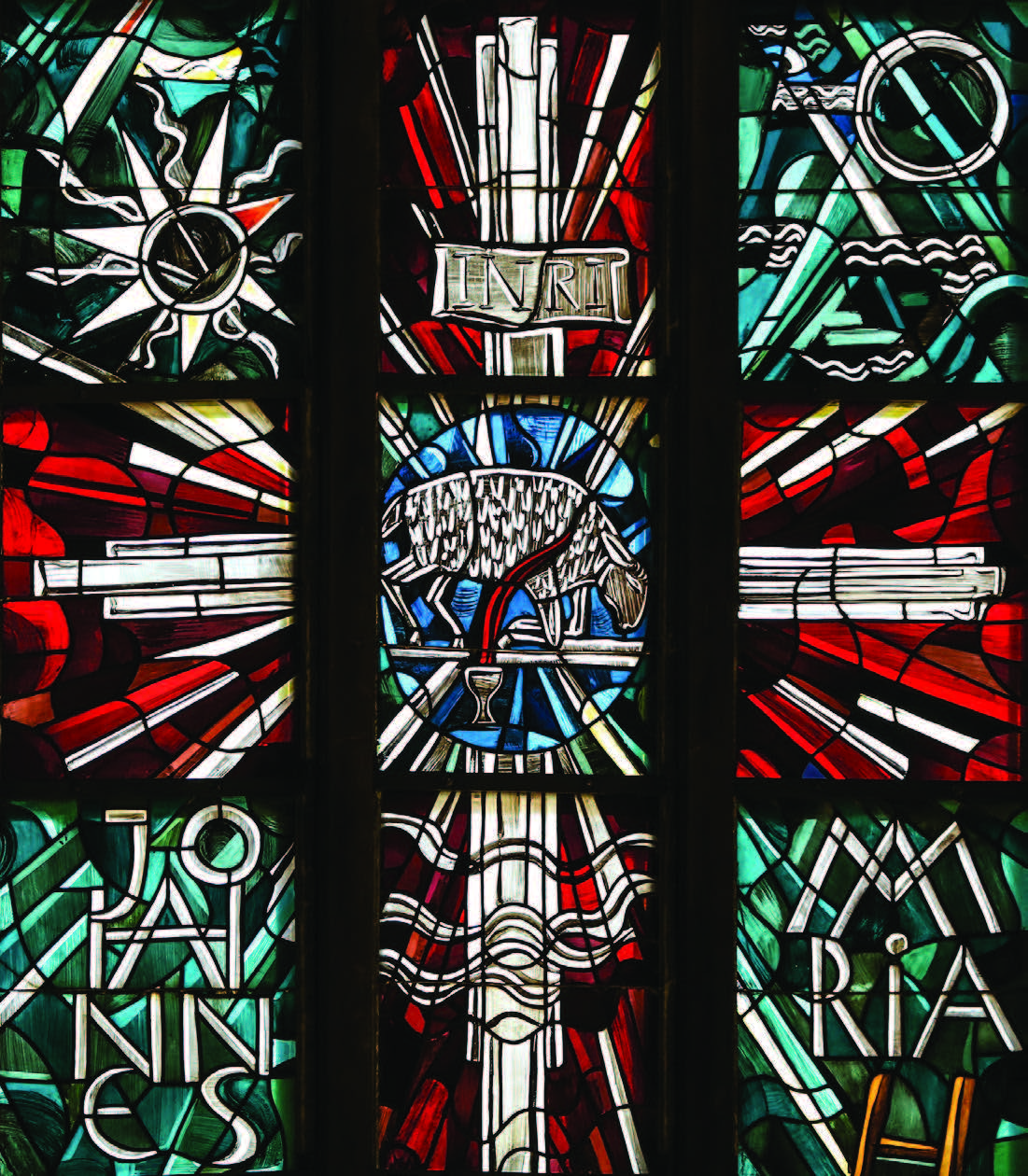 Stained glass detail from the church of St Peter in Hamburg.