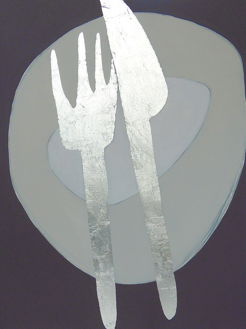 CRAZY KNIFE AND FORK  102x76cm   | oil on canvas with silver leaf |   £1,600.00 | SOLD