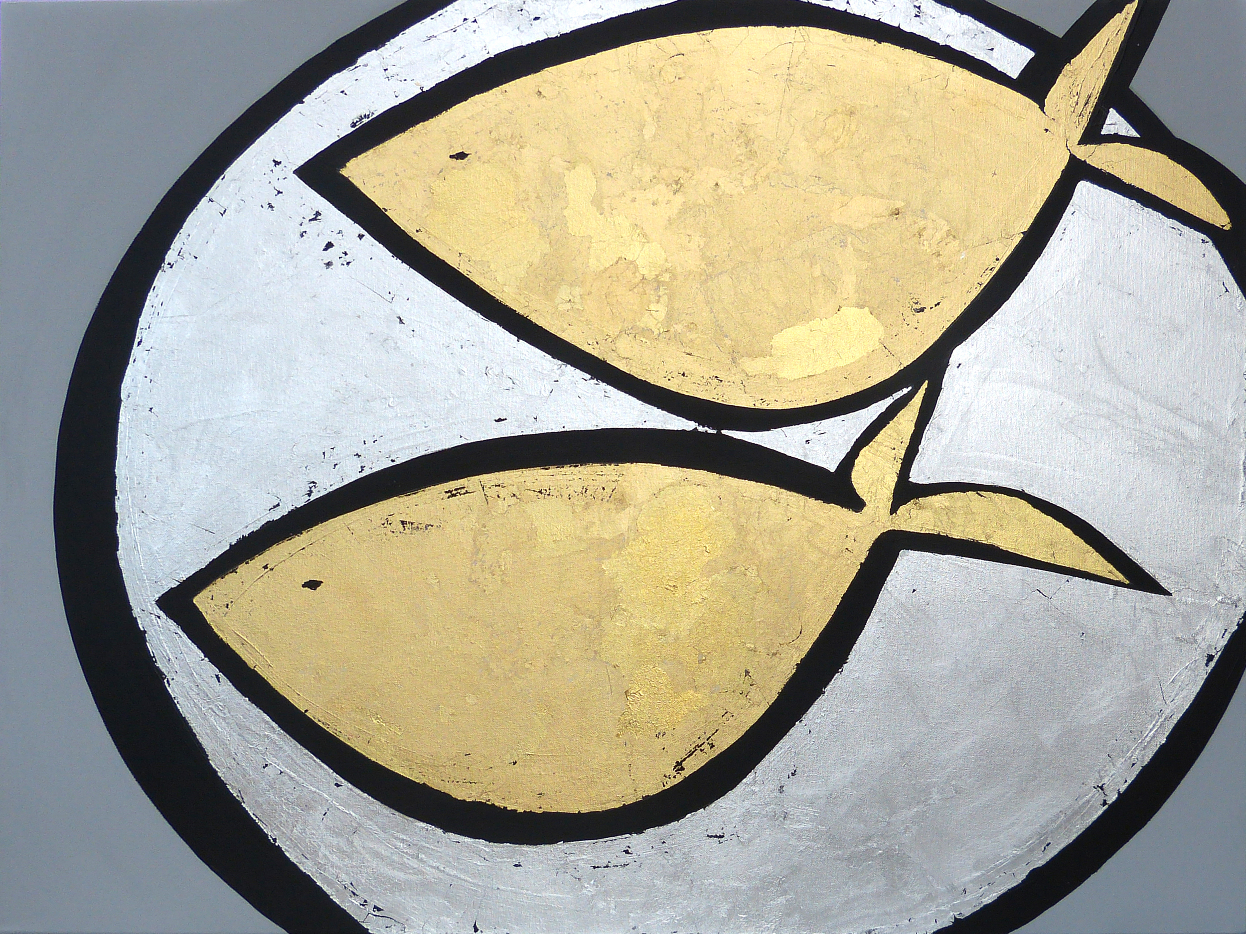 FAT FISH  102x76cm | acrylic on canvas with silver and gold leaf| £1,200.00 |SOLD
